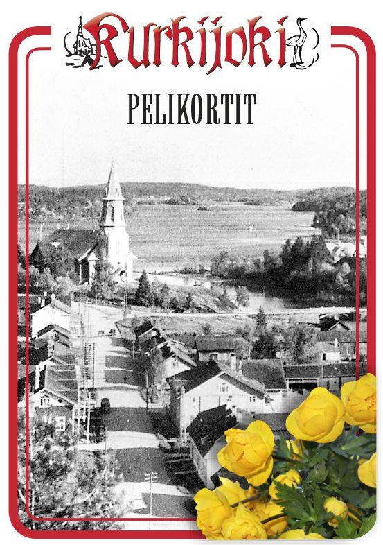 Uutustuotteena tulossa olevien Kurkijoki-pelikorttien pakkauksen kannessa on yleiskuva Kurkijoelta kullerokoristeineen kaikkineen