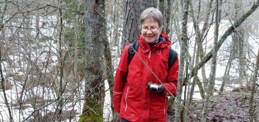"""Onnellisena """"perillä"""" Merran kalliolla viime huhtikuussa. Takana mäen alla näkyy lumista peltoa. Etupuolella mäen alla kulkee vanha Särkijärventie, nykyisin metsätie."""