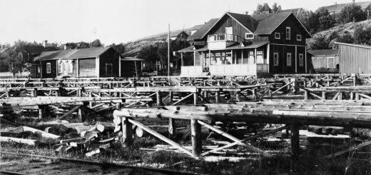 Haukkavaaran pysäkin lastausalue 1920-luvun lopulla.