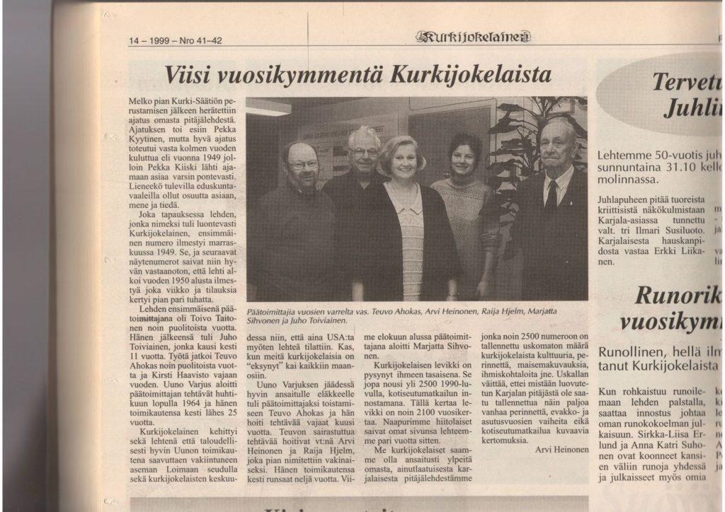 Lehtiartikkeli Kurkijokelaisen 50-vuotisjuhlista.