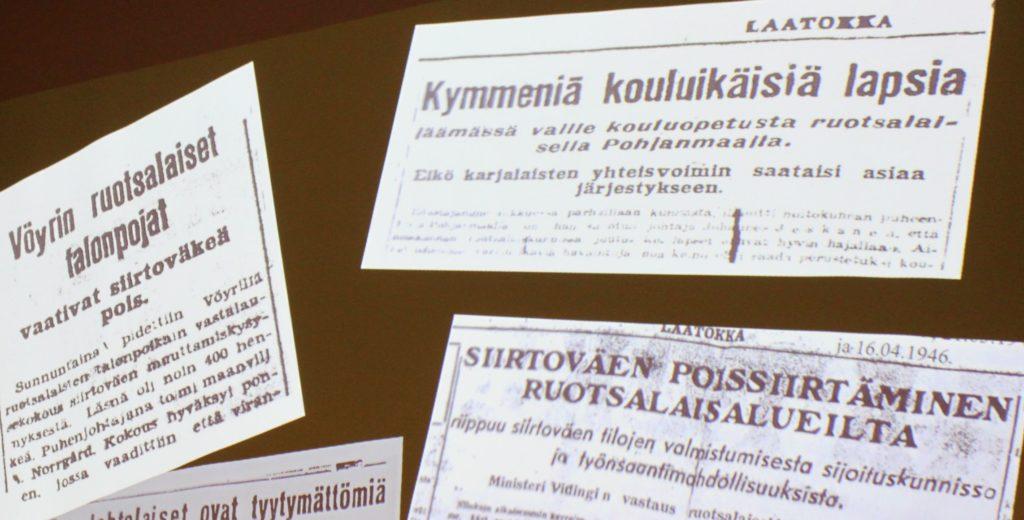 Lehtileikkeet kertovat, että siirtoväki ei ollut kovin tervetullutta ruotsinkieliselle Pohjanmaalle. - Myös koululaisten tilanne oli siellä huono, koulutiloja ei saatu edes iltakäyttöön, kertoi Ilkka Virta esityksessään.