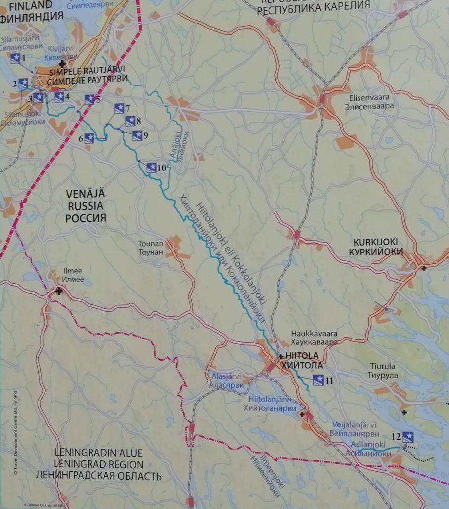 Hiitolanjoki, Kokkolanjoki, Asilanjoki – sama joki, monta nimeä. Karttaan on merkitty tähdellä kosket, Venäjän puolen kosket eivät aiheuta lohen nousulle ongelmia.